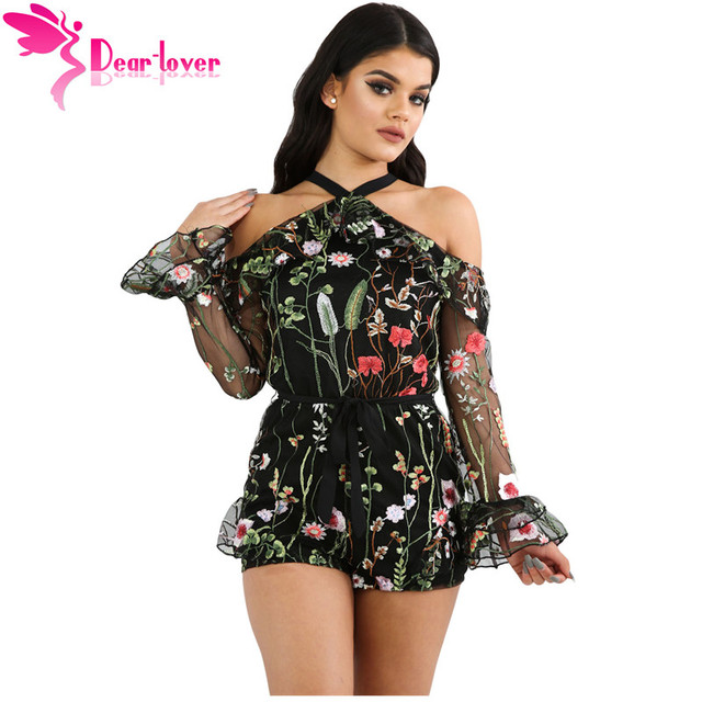 524a01b5af6 Dear Lover Party Jumpsuits Women Rompers Sexy Black Floral Long Lace Sleeve Playsuits  Ladies Club Shorts