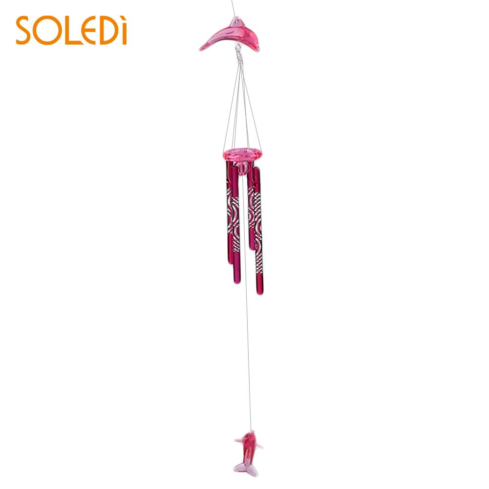 Дельфин Колокольчик колокольчик металлические трубы домашний подвесной Декор благословение на удачу - Цвет: pink