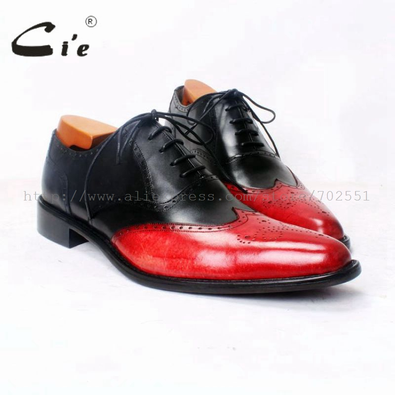 cie Pointed Toe Full Brogues Bespoke Handmade Men's Oxford Black Red Mixed Colors Lacing Casual Breathable Leather Shoe OX372 cie round toe wine black mixed colors patches shoe100