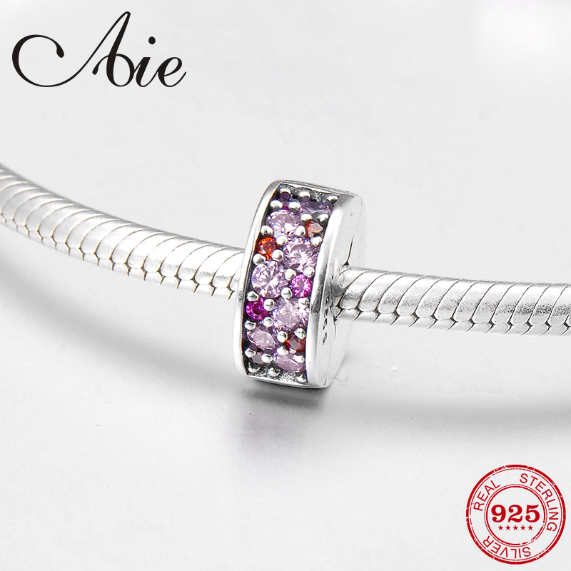 Sparkling pink CZ charming gift 925 Sterling Silver fine clips Lock beads Fit Original Pandora Charm Bracelet Jewelry making
