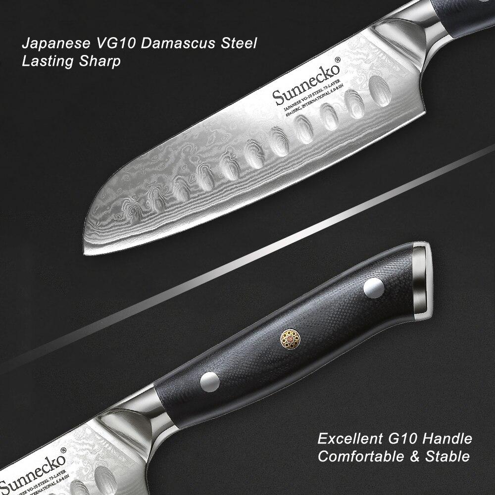 Image 4 - Sunnecko 5/7 Santoku Chef Knife Kitchen Knives Japanese  Damascus VG10 Steel Razor Sharp Blade Meat Cutting Tools G10  HandleKitchen Knives