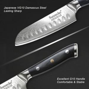 "Image 4 - Sunnecko 5""/7"" Santoku Chef Knife Kitchen Knives Japanese Damascus VG10 Steel Razor Sharp Blade Meat Cutting Tools G10 Handle"