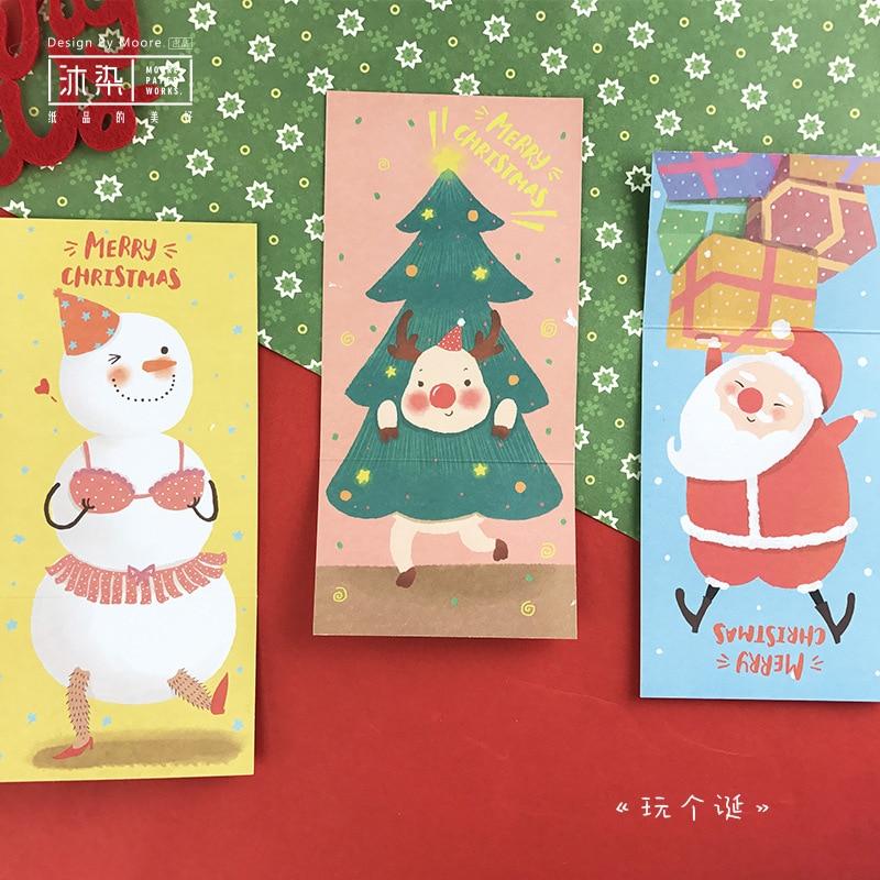 6Pcs/Set 3 cards +3 envelopes DIY Christmas Tree Snowman card/Greeting Card/Wish Card/Christmas and New Year gifts