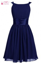 Real Photos Bridesmaid Dresses Short Chiffon Pleated Bridesmaids Dress Discount Navy Blue Dress