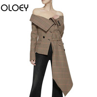 OLOEY Ladies Blazers Plaid Off The Shoulder Irregular Suit Coat Long Sleeve Lace Up Slim Woman Tops All Match Blazer Jacket Q554