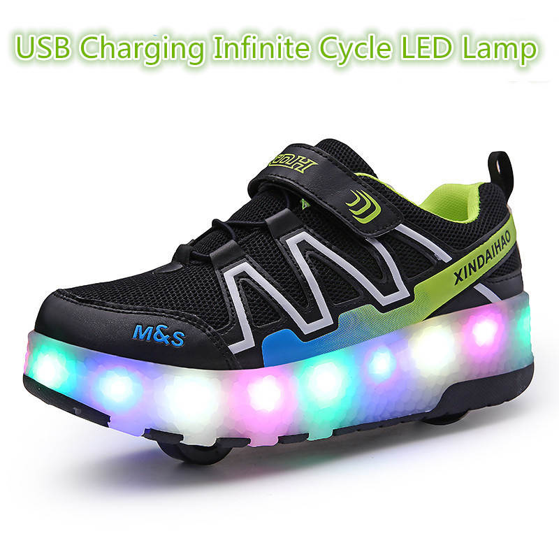USB Charging Children Roller Sneaker Kid Wheel Shoe Child Sport Wheel Casual Children Light LED Shoes