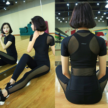 2016 New Modal Yoga Suits Top&Pants Sets Women's Gauze Running Fitness Sports Tights Jumpsuit Bodysuit Black Jogging Tee&Legging