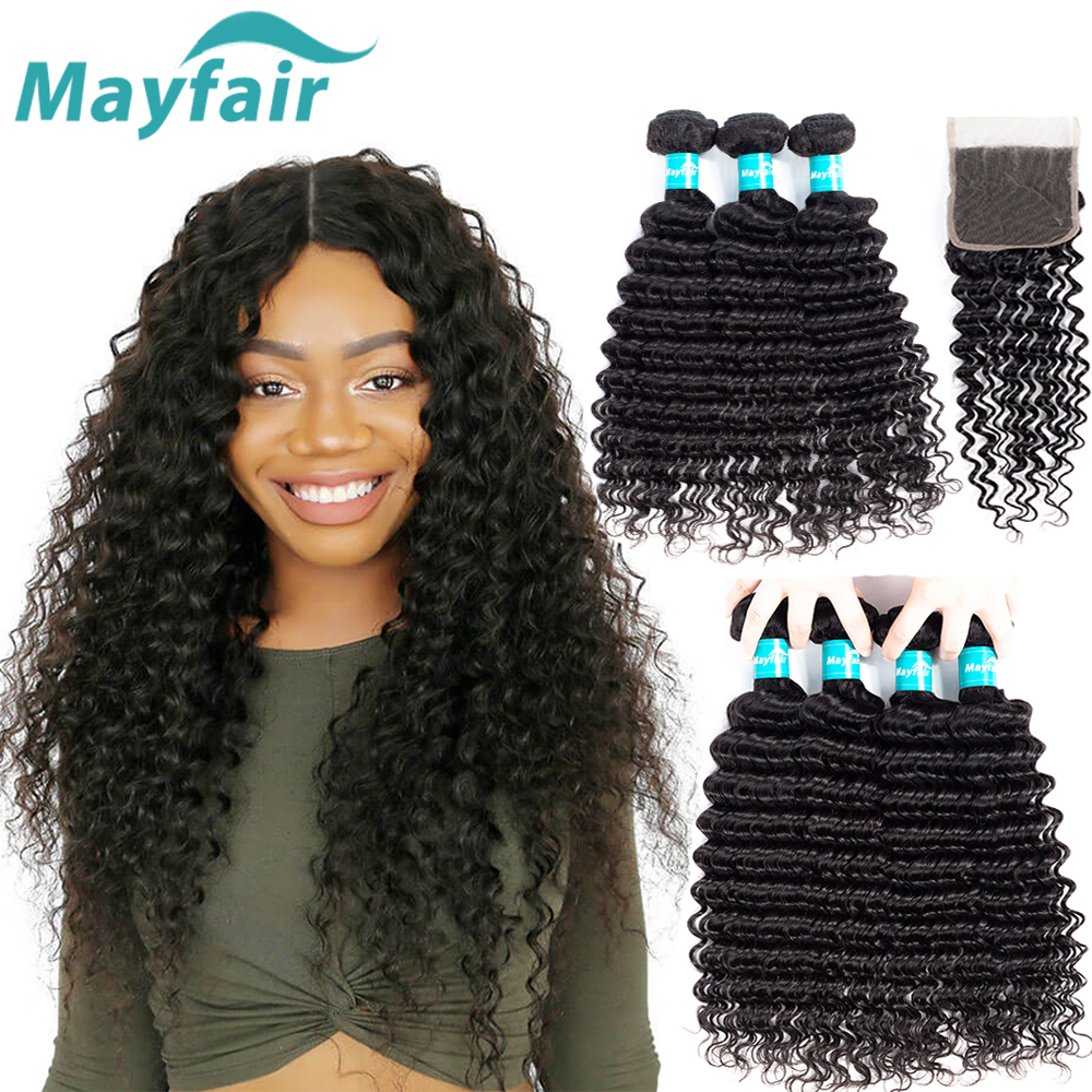 Malaysian Deep Wave Bundles Med Lukking Human Hair Bundles With - Menneskelig hår (for svart)