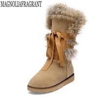 Обувь Для женщин Сапоги и ботинки для девочек Однотонные мягкие изящные женские зимние ботинки круглый носок; плоская подошва На зимнем меху на платформе Сапоги и ботинки для девочек женские ботинки K374