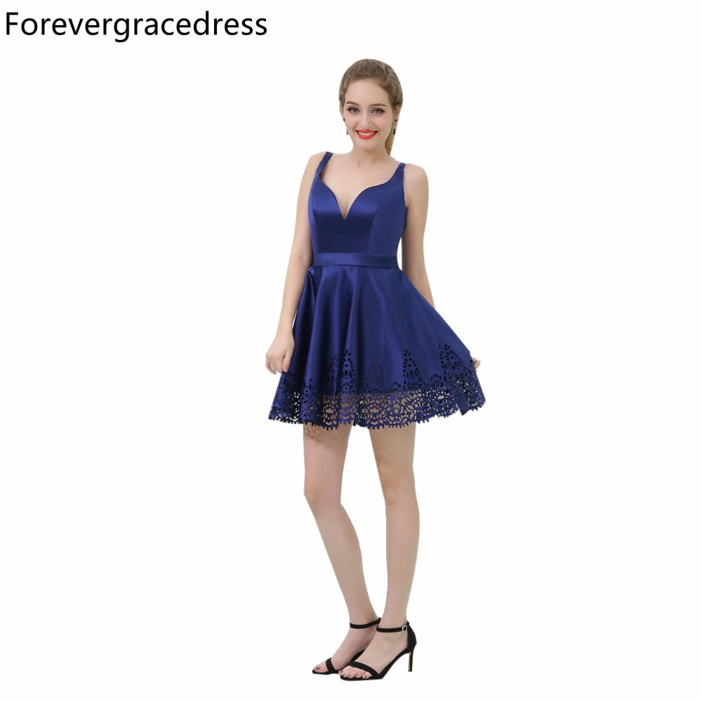 Forevergracedress Real Picture Royal Blue   Cocktail     Dress   Fashion V Neck Backless Short Homecoming Party Gown Plus Size