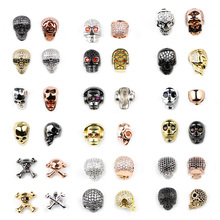 BTFBES CZ Crystal Spacer Beads Copper Charm Skull Beads 20 different styles for Jewelry Bracelet Making DIY Findings Accessories mixed wholesale micro pave beads diy jewelry making findings copper charm spartan warrior crown skull beads for bracelet