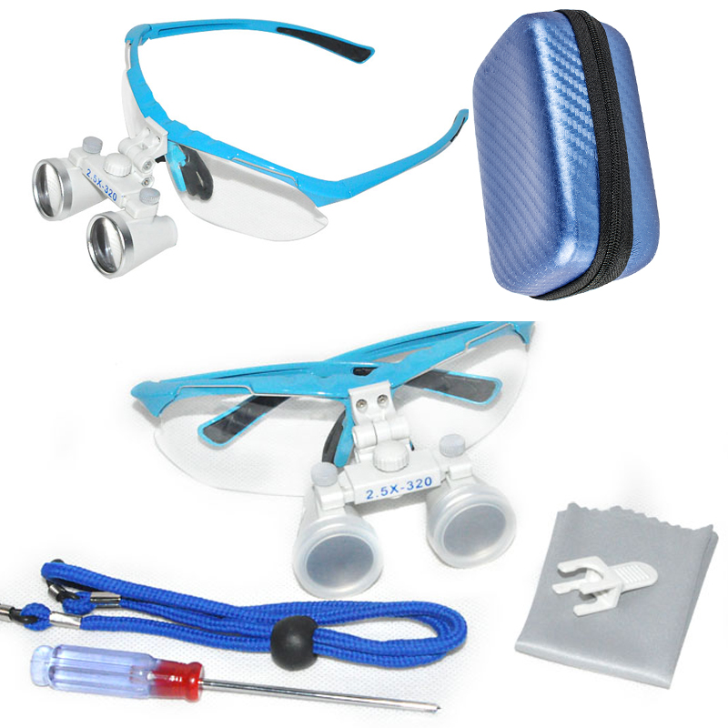 2018 New Dentist Dental Surgical Medical Binocular Loupes 2.5X 320mm Optical Glass Loupe with Box with Blue Carry Case 2018 new fashion dentist dental surgical medical binocular loupes optical glass loupe with colorful carry case free shipping