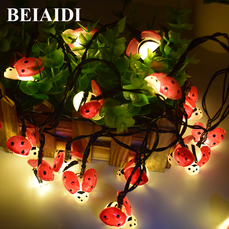 BEIAIDI 20 30LED Waterproof Bee Ladybug Solar String Light Solar Power Cute Bee Fairy String Garland Christmas Party Garden Lamp