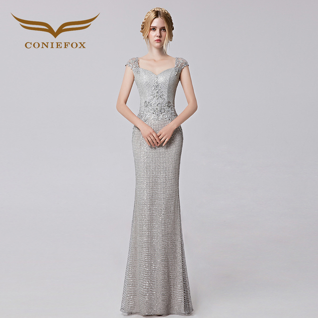 Coniefox 2017 Sleeveless Sequins Mermaid Silver Special Occasion ...