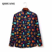 QIHUANG 2019 Fashion Women Blouse Cotton Long Sleeve Shirts Turn-down Collar Prints Plus Size Women Tops and Blouses S-5XL girls plaid blouse 2019 spring autumn turn down collar teenager shirts cotton shirts casual clothes child kids long sleeve 4 13t