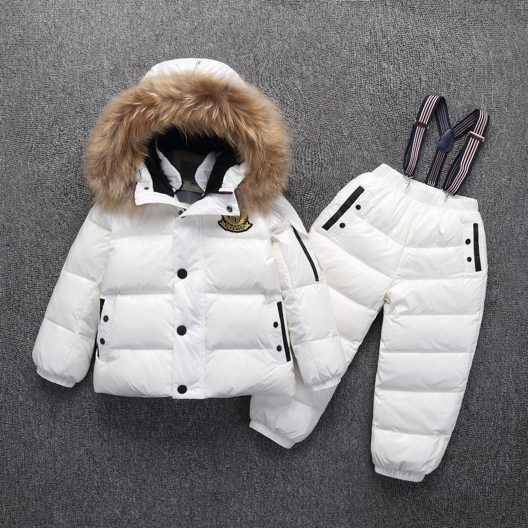 2019 enfants vêtements garçon fille canard en duvet de fourrure à capuche détachable veste enfant en bas âge filles hiver chaud manteau 2 pièces costume imperméable à l'eau
