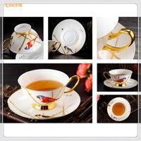 1 set Européenne Royal Riche Oiseau Porcelaine Café Tasse En Céramique Tasse de Thé Soucoupe Porcelaine Avancée Thé Tasse de Café Verres 6ZDZ469