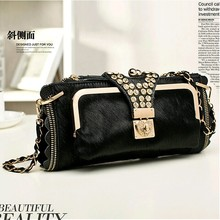 2017  horsehair + genuine leather women's day clutch bag  ladies's rhinestone evening bag female small chain messenger bag
