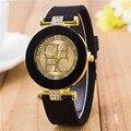 2015 Nova Marca de Moda Ouro Genebra Casuais Relógio De Quartzo Das Mulheres de Cristal de Silicone Relógios Relogio feminino Vestido Relógio de Pulso Quente