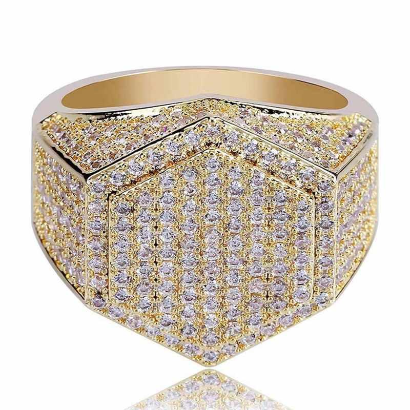 Hip Hop อินเทรนด์แหวนฝังเพชร AAA + Cubic Zircon แหวนเงินสีหกเหลี่ยมรูปร่าง Rock แหวนสำหรับผู้ชายเครื่องประดับ