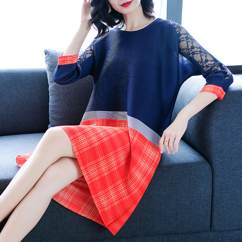 Noir Red Robes Dentelle A Gratuite marine orange Printemps Femmes Plier Robe Miyake Mode line Bleu Plaid 2019 Imprimé Taille Nouvelle Livraison Lâche rose De nOPw0k8X