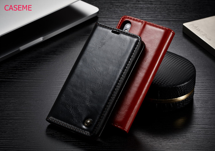 CaseMe For iPhone X 8 7 6 6s Plus 5 5s SE Phone Cases Luxury Retro PU Leather Stand Flip Card Slot Wallet Pocket Back Cover Case