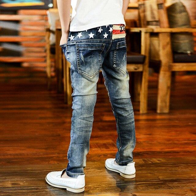 Дети джинсы мальчик звезда вышитые джинсы Оптом Корейской моде джинсовые Брюки H50818B13