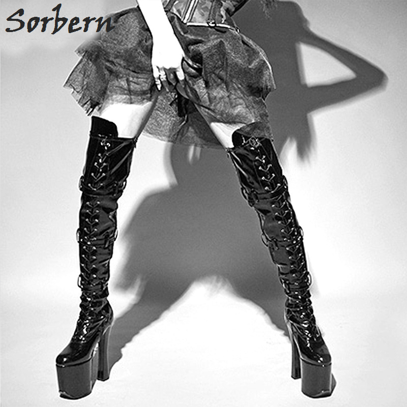 Sorbern Shiny Black Heels 20Cm Super High Heel Boots Vintage Shoes Over Knee Boots Womens Lace Up Thigh High Boots 2018 New пальто ovas пальто модерн