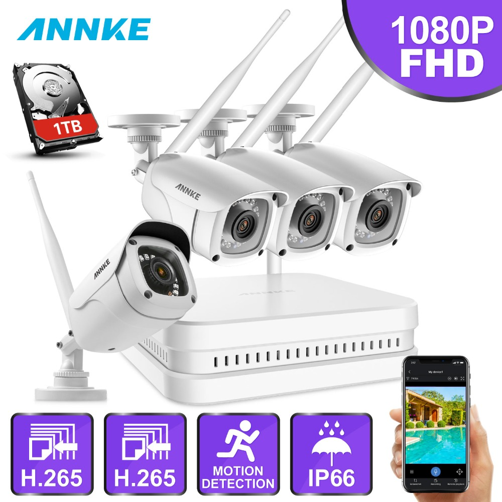 ANNKE 8CH FHD Wi-Fi Wireless NVR CCTV System 4PCS 1080P IP Camera WIFI Outdoor Waterproof CCTV Security Camera Surveillance Kits wi fi мост ubiquiti litebeam 5ac 23 lbe 5ac 23 eu