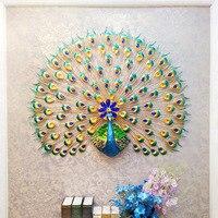 70x65 см Павлин настенное украшение домашнего декора аксессуары для гостиной Миниатюрный Сад Железный Настенный декор из металла аксессуары