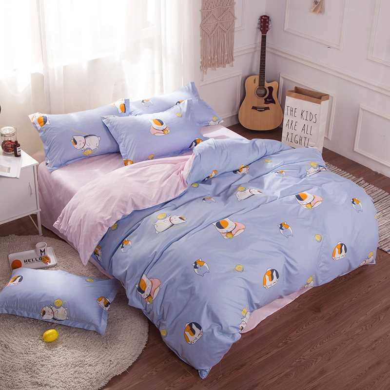 comforter bedding sets victoria secret pink +blue Cartoon cat Duvet Cover sets Egyptian Cotton Bedding for childrens bedroom