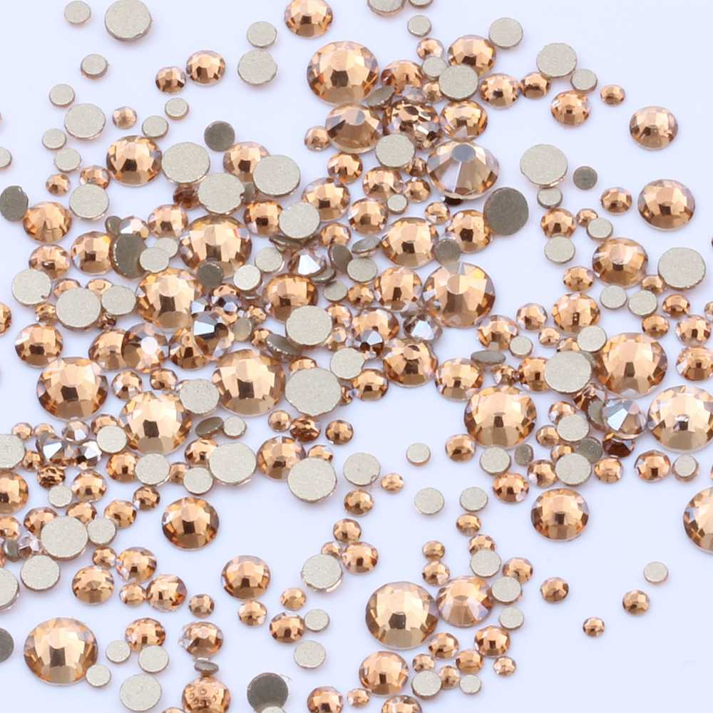 Gold Champagne Many Size Non Hotfix Gold Bottom Crystal Rhinestones Glass Glue On For Wedding Dresses DIY Nail Art Decorations