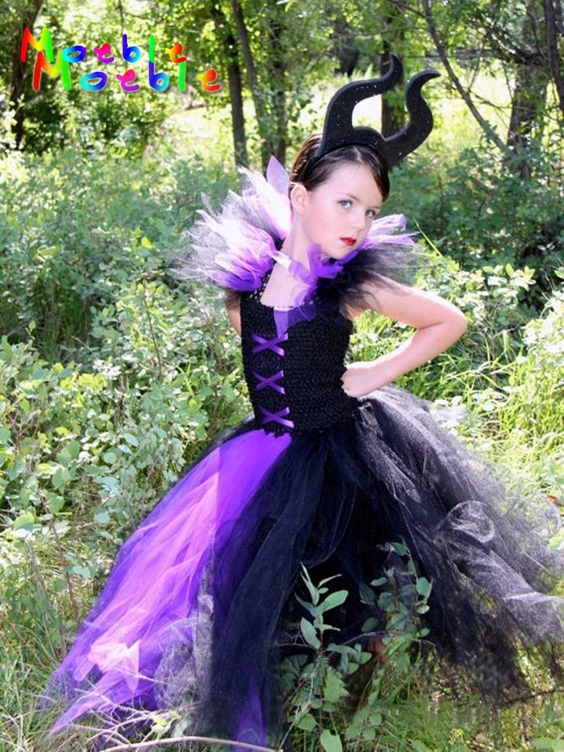 Black&Purple Maleficent Evil Queen Girl Tutu Dress Kids Girls Cosplay Party Dresses Girl Clothes Long Dress Baby Photo Props