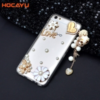 HOCAYU Transparent Mobile Phone Cases For Vivo X9 X7PLUS X9S Y67 With Glitter Love Hanging Strap