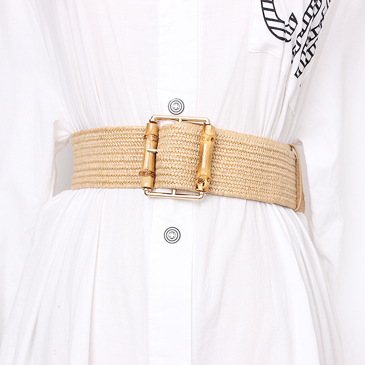 2019 Vintage Knitted Wax Rope Wooden Bead Waist Rope Women Bamboo joint Buckle   Belt   Woman Woven Female Hand-Beaded Braided   Belt