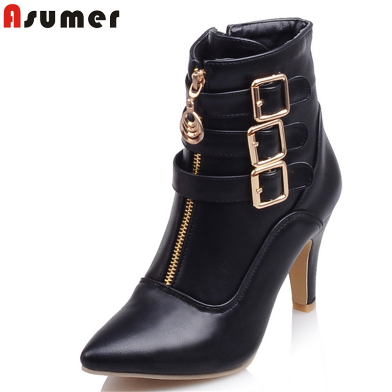 ASUMER Size 34-45 New 2018 Women boots high heels pu leather ankle boots for women shoes with buckle pointed toe martin boots size 34 43 2016 fashion women s ankle boots black motorcycle pu leather boots solid pointed toe martin boots autumn shoes