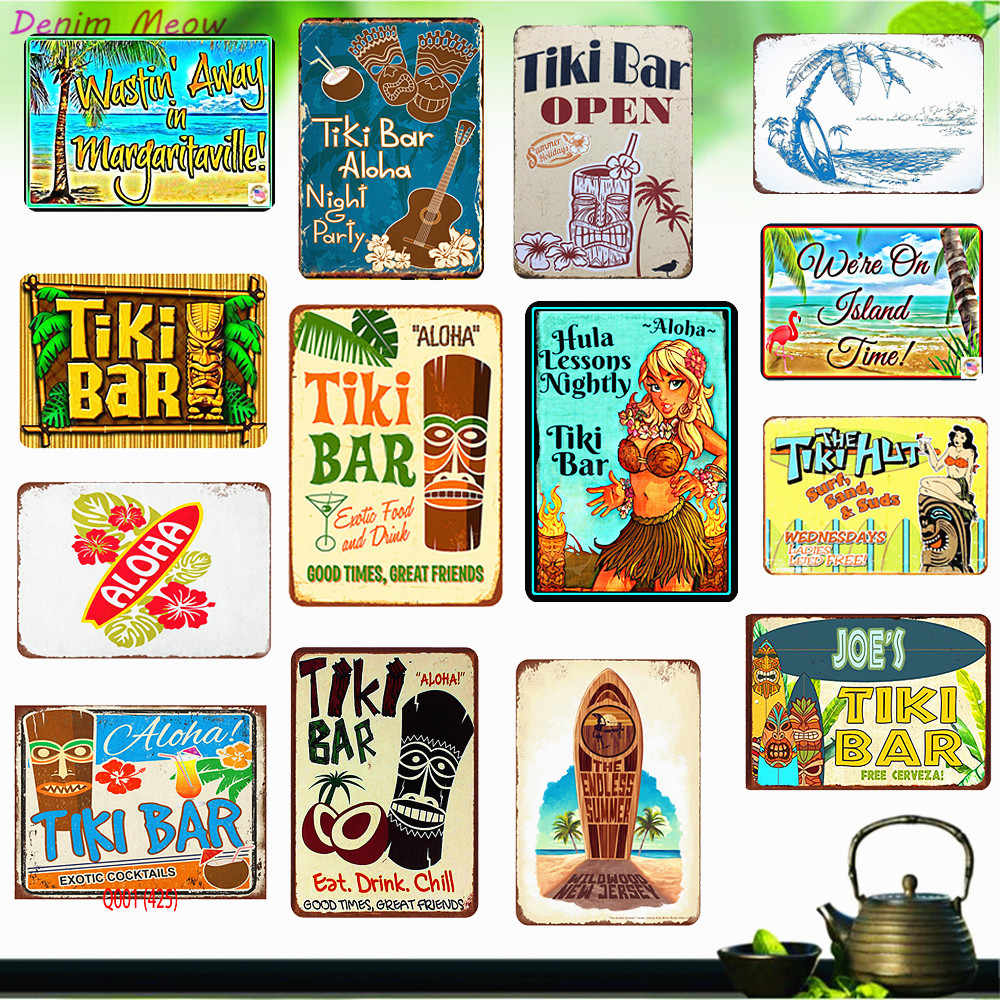 Tike Bar Shabby Chic Metalen Tin Borden Tropische Bar Vintage Plaque Cafe Pub Club Thuis Wall Decor Platen Art Printing stickers WY30
