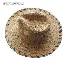 2019 Ins Hot Summer Raffia Sun Hat for Women Beach Jazz Ladies Straw Hat Fashion Fedora Men Panama Wide Brim Hat