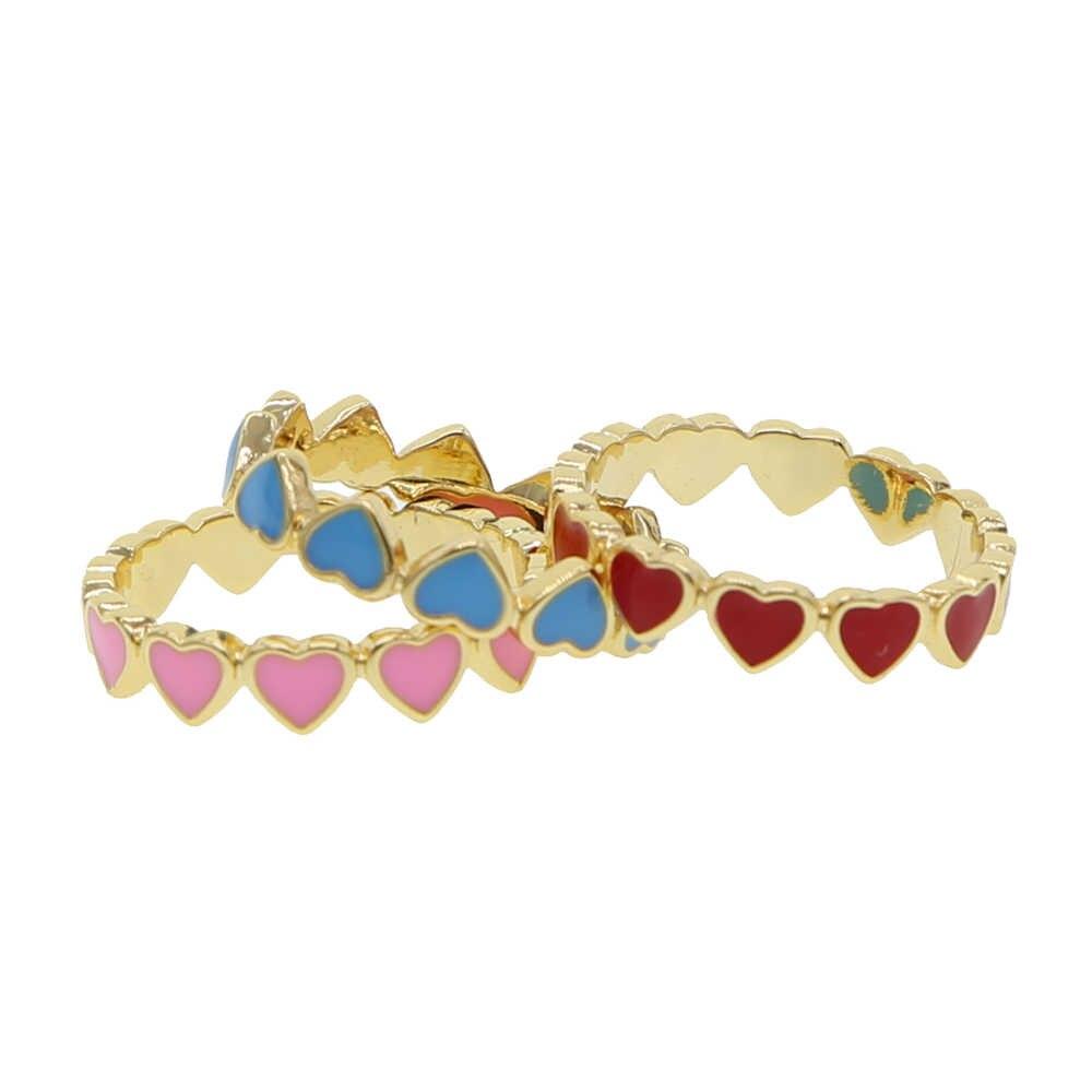 น่ารักน่ารักหัวใจแหวนทองสีชมพูสีฟ้าสีแดงแถบสีสันผู้หญิงแฟชั่นแหวนนิ้วมือ