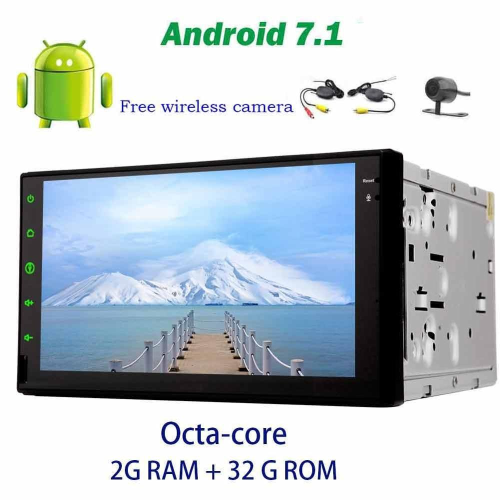 Capacitive Touch Screen audio Android 7 1 2Din No DVD Player radio Stereo GPS Headunit Support