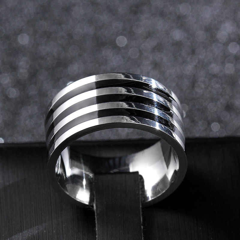 Classic Punk 10mm Men Woman ceramic Rings Black Silver Tow Color Three layers Rings for Women Female Size Rings Party Jewelry