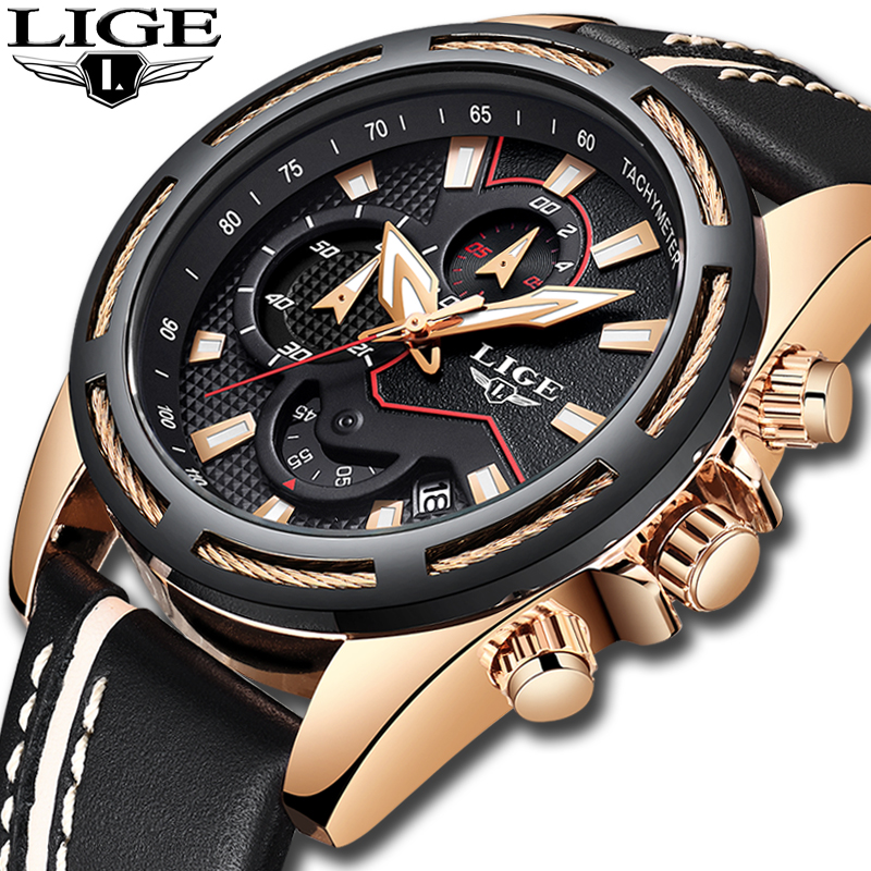 Relogio Masculino Men Watches LIGE Top Brand Luxury Business Waterproof Quartz Watch Men Casual Leather Military Wrist Watch+BoxRelogio Masculino Men Watches LIGE Top Brand Luxury Business Waterproof Quartz Watch Men Casual Leather Military Wrist Watch+Box