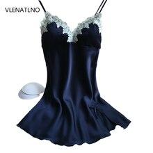 Women's Sexy Silk Nightwear Short Dress