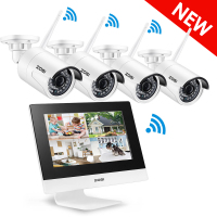 ZOSI Wireless Surveillance System Network 10 Inch LCD Monitor NVR Recorder Wifi Kit 4CH 960P HD