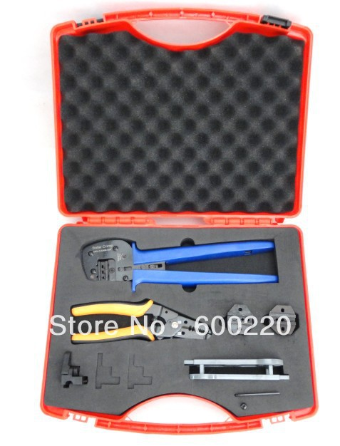 Solar Tool Kit  MC4 crimping tool kit  A2546-5D2, combination tool set for crimping solar PV cables  MC4, MC3, Tyco connectors solar panel tool kit ly k2546b 1 pv tool set mc4 crimping tool set only including mc3 crimping die set mc4 mc3 crimping tool