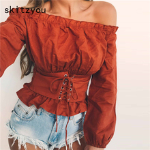 skitzyou Autumn Women Clothing Off Shoulder T Shirts Lantern Long Sleeve Tops White Slim Slash Neck Casual Lace Up Thin Crop Top
