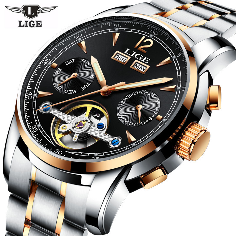 2017 LIGE Skeleton Tourbillon Mechanical Watch Automatic Men Classic Rose Gold Steel Mechanical Wrist Watches Reloj Hombre