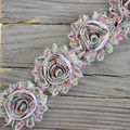 1yard DIY shabby flower Chiffon Flower Shabby Rose Trim for baby/infant/ toddler hair flower/headband/shoes(009)