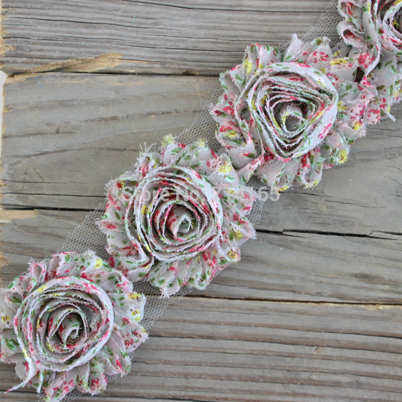 1yard DIY Shabby Flower Chiffon Flower Shabby Rose Trim For  Hair Flower/headband/shoes(009)