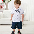 Summer Baby Boys Clothing Sets Male Baby Clothes 6 - 36 Months Casual White Short-Sleeve + Pants Children's Infant Clothing